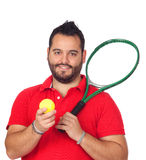 Bearded young men with tennis racket Stock Image