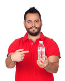 Bearded young men with a water bottle Stock Images
