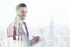 Creative young man in a big city Royalty Free Stock Photos