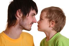 Beardman with child Stock Images