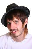 Beardman en hoed stock foto