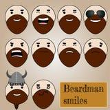 Beardman smiles. Smiles collection of bearded man Vector Illustration