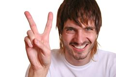Beardman with victory fingers Royalty Free Stock Photos