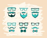 Beards, mustaches, glasses and bows print Stock Photo