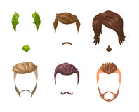 Beards, mustaches and hairstyles set. Royalty Free Stock Image
