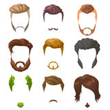 Beards, mustaches and hairstyles set. Vector Illustration isolated on white. Royalty Free Stock Image