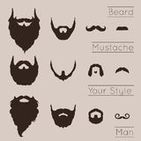 Beards and Mustaches set Stock Image