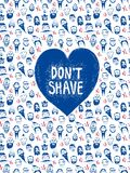 Beards and mustashes postcard. Funny  seamless pattern with beards on different people and heart shaped title. Isolated  objects Stock Image