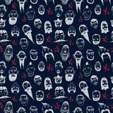 Beards and mustashes seamless pattern. Funny vector seamless pattern with beards and different people on dark background. Isolated editable objects Royalty Free Stock Images