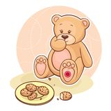 beareating μπισκότα teddy Στοκ Εικόνες