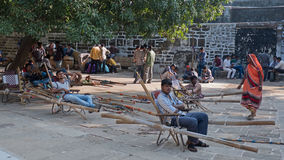 Bearers resting at the summit Stock Images