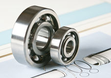 Bearing. Mechanical scheme and industry bearing royalty free stock photo