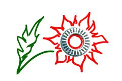 Bearing as a Flower. Bearing spare part as a Red Flower logo on white Stock Photo
