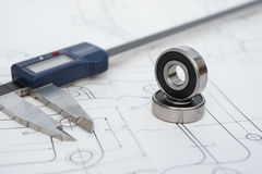 Bearing and caliper on an engineering drawing Royalty Free Stock Photo