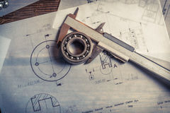 Bearing, calipers and mechanical diagrams. Retro style Stock Photos