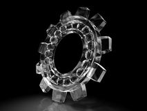 Bearing gear of ice. Isolated on black Royalty Free Stock Photos