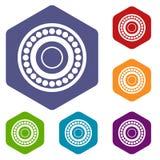Bearing icons set hexagon Royalty Free Stock Photography