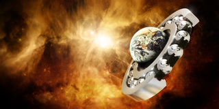 Bearing moving the world. Cutted 3D bearing moving the planet earth in space Stock Photo