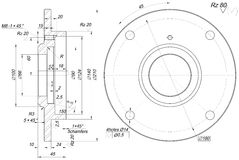 Bearing sketch with chamfers. Engineering drawing Royalty Free Stock Photography