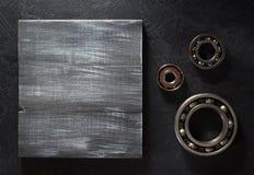 Bearing tool on black background. Bearings tool on black background texture Stock Photo