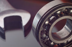 Bearing and wrench. Very close Royalty Free Stock Photography