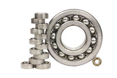 Bearings.#6. Bearings of different sizes on a white background stock photography
