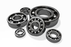 Bearings. Different type bearings set on white surface Stock Image