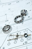 Bearings. And various tools on drawing Stock Photography