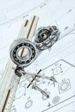 Bearings. And various tools on drawing Royalty Free Stock Photos