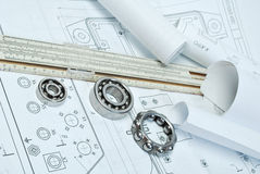 Bearings. And various tools on drawing royalty free stock photography