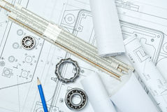 Bearings. And various tools on drawing Stock Image