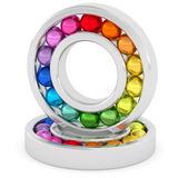 Bearings with colorful balls on white background Royalty Free Stock Photos