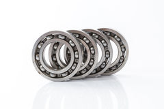 Bearings. Detailed bearings set production isolated on white background royalty free stock photos
