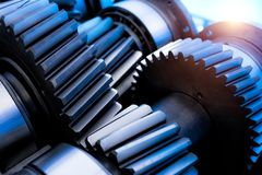 Bearings and gears in the transmission Stock Image