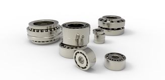 Bearings metal on a white background Stock Images