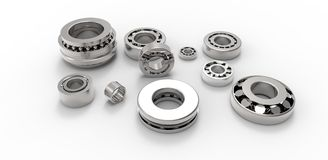 Bearings metal on a white background Stock Photos