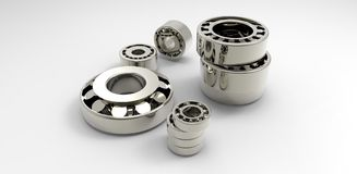 Bearings metal on a white background Royalty Free Stock Photography