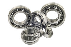 Bearings with shallow depth of field. On a white background royalty free stock images