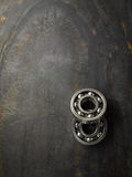 Bearings. On the steel plate. Top view royalty free stock images