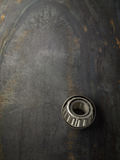 Bearings. On the steel plate. Top view stock photography