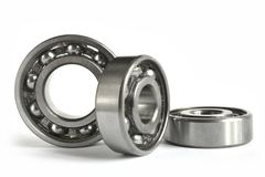 Bearings. Three close-up bearings on the white background royalty free stock photography