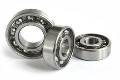 Bearings. Three close-up bearings on the white background stock images