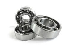 Bearings. Two close-up bearings on the white background stock images