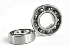 Bearings. Two close-up bearings on the white background stock photo