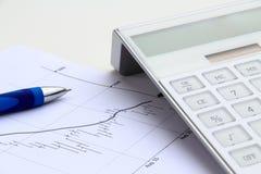 Bearish stock chart with calculator Royalty Free Stock Photos