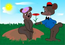 Bears. Amorous bear with red flower vector illustration