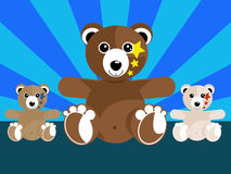 Bears. Happy bears with two sons Stock Photo