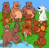 Bears animal characters cartoon illustration. Cartoon Illustration of Bears Animal Characters Group stock illustration