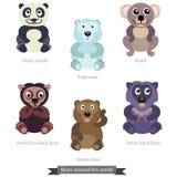 Bears around the world. Solid fill vector cartoon illustration Stock Photography