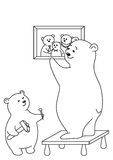Bears attach a picture, contours. Teddy-bears: father and the son attach a picture on a wall, contours Stock Image